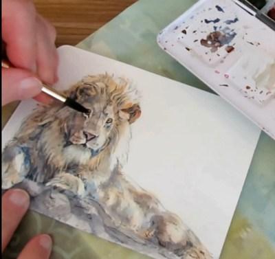 How To Paint A Lion In Watercolor - Final Details - Doodlewash