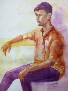Watercolor on HM paper 14-7-18 Portrait – Watercolor 14-7-18