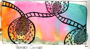 #World Watercolor Month Day 3: Primary Colours. I placed Indian Yellow, Quinacridone Pink, and Ultra