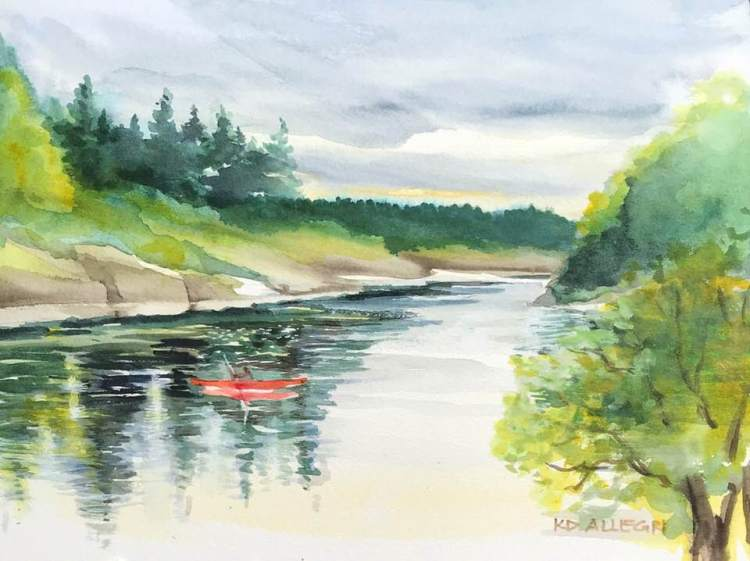 """Red Canoe"" is the third painting I did at this river near Portland, Oregon. There were"