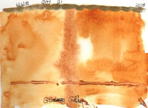 #WorldWatercolorMonth Day 21: Glorious Golds I used 3 different Quinacridone Golds in the body, (QoR
