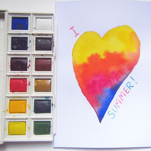 Watercolor Projects For Kids Wet In Wet Summer Heart