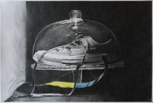 VELVET BANANA SHOE – watercolor showed in FabrianoinAcquerello2018, with DanielSmith colours o