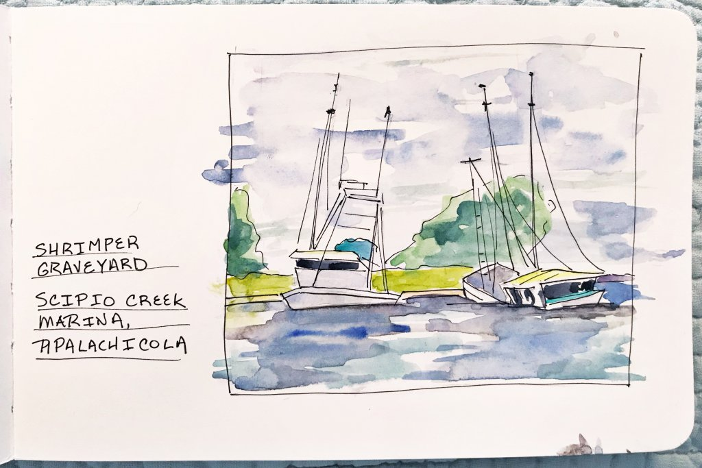 A simple sketch of sinking boats. I've been meaning to paint this in oil, but it's been