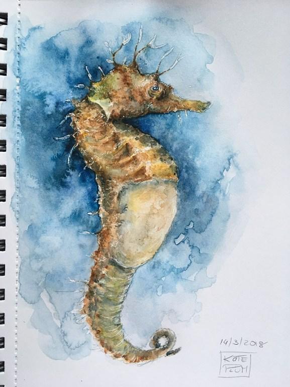 Seahorse Watercolor Painting by Kate Plum - Doodlewash