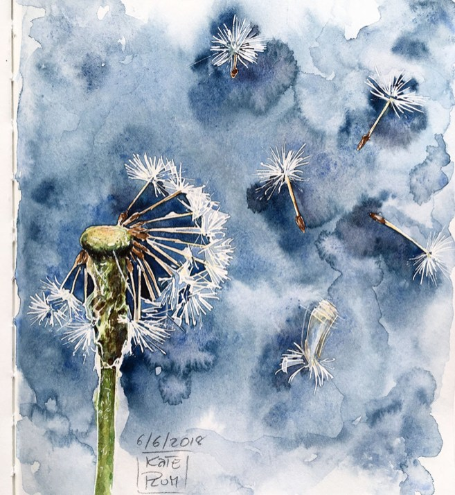 Dandelion Watercolor Painting by Kate Plum - Doodlewash