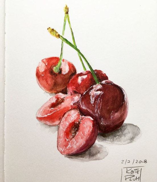 Cherries Watercolor Painting by Kate Plum - Doodlewash