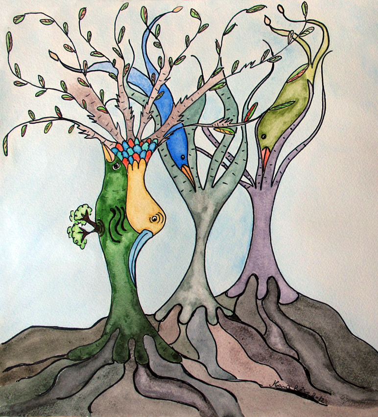"""""""As áveres"""" Birds and trees are one only! As áveres-18×30"""