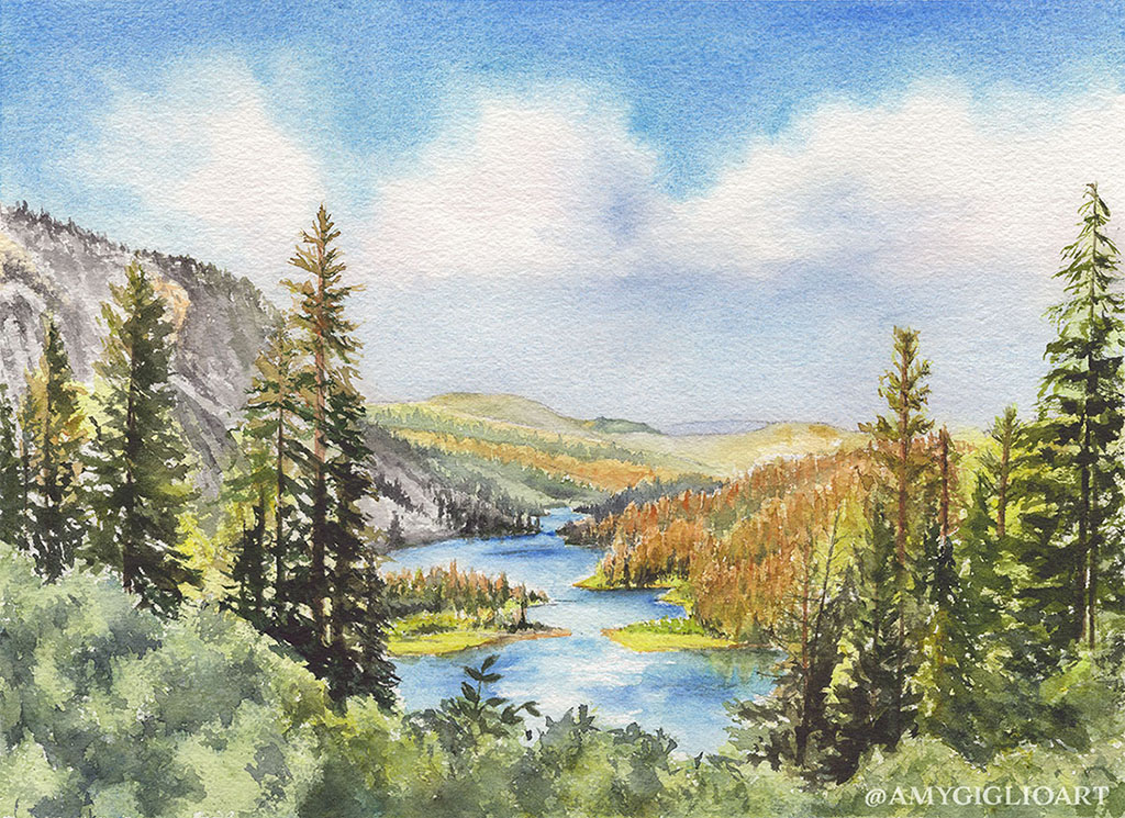 Californian Landscape Watercolor by Amy Giglio - Doodlewash