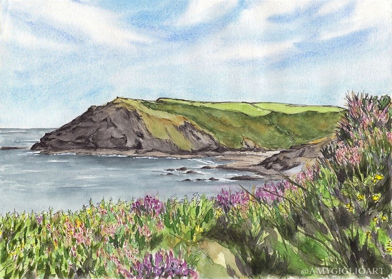 Crackington Haven Watercolor by Amy Giglio - Doodlewash