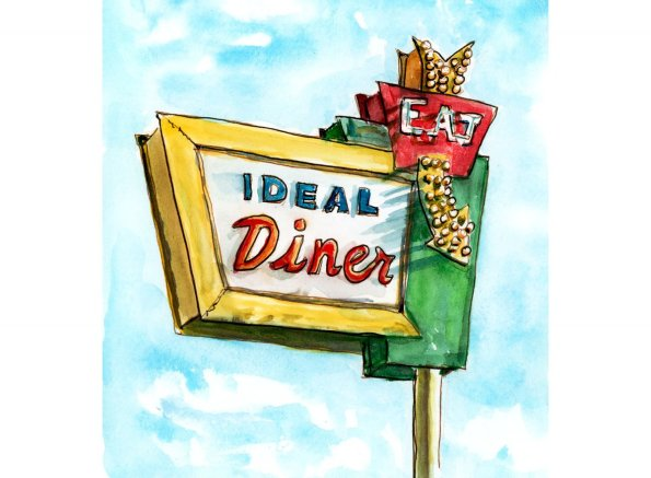 Day 11 - Roadside Dining Ideal Diner - Doodlewash