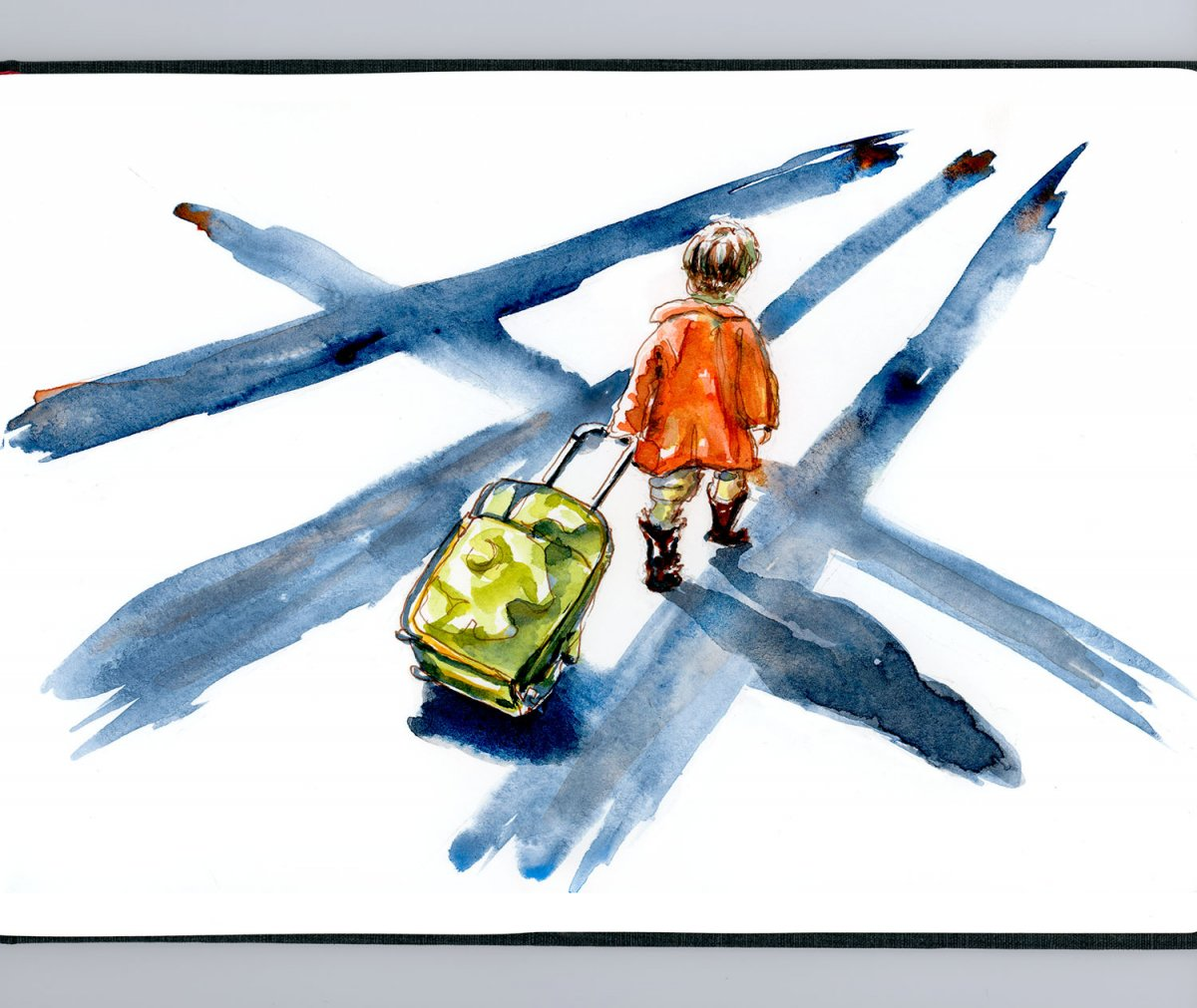 Day 12 - Child With Suitcase Watercolor - Doodlewash