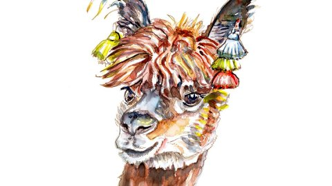 Alpaca Watercolor Portrait - Day 13 - #doodlewashAugust2018 Doodlewash