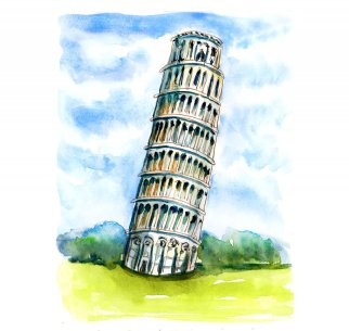 Day 15 - Leaning Tower Of Pisa Watercolor - Doodlewash