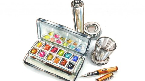 Day 16 - My Kitchen Travel Watercolor Palette - Doodlewash