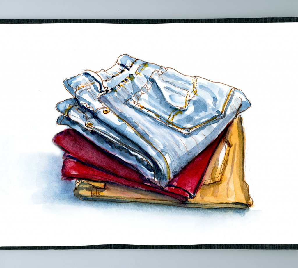 Day 19 - Life In Jeans_Stack Of Jeans Watercolor - Doodlewash