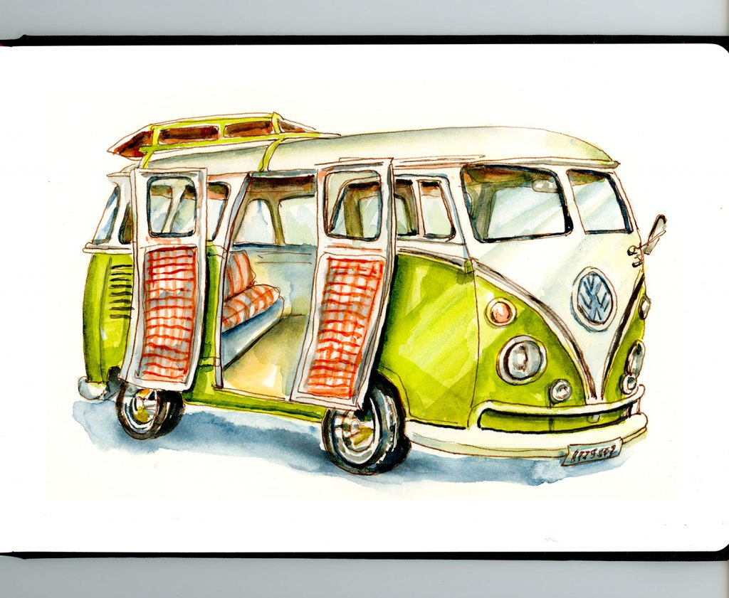 Day 22 - VW Camper Van Illustration - Doodlewash