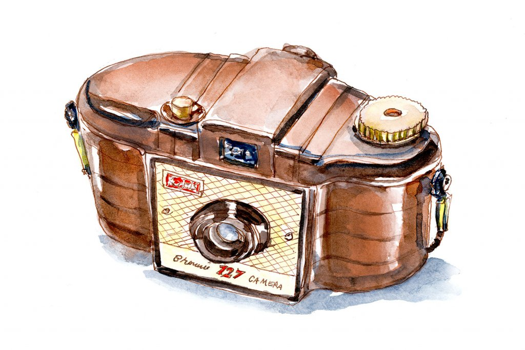 Day 24 - Kodak Brownie 127 Camera Watercolor - Doodlewash