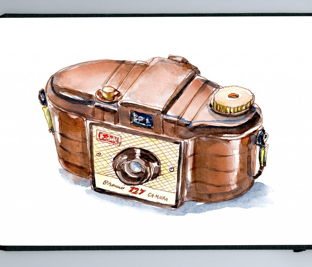 Day 24 - Kodak Brownie 127 Camera Watercolor - Doodlewash