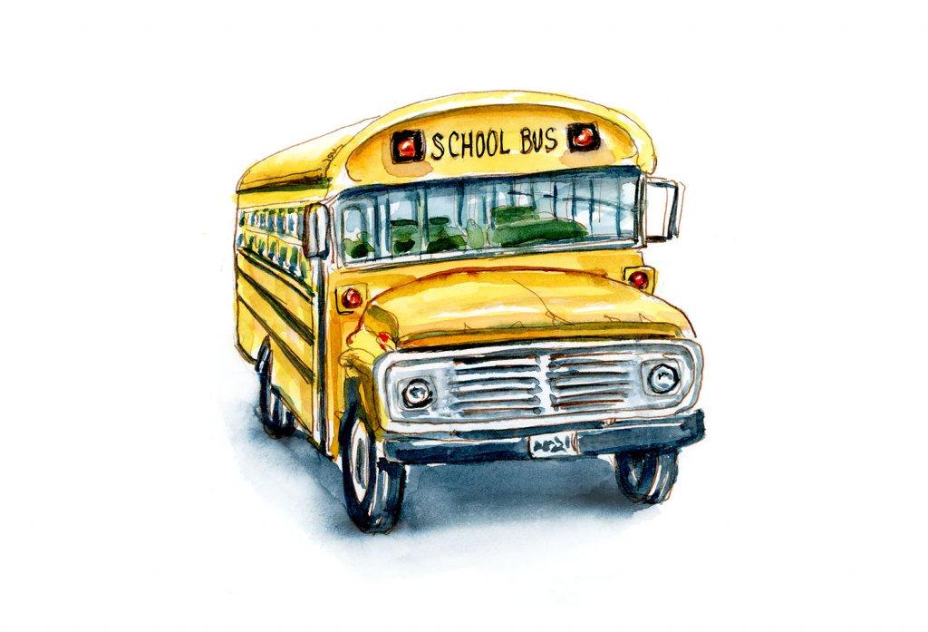 Day 25 - Yellow School Bus First Public Transportation - Doodlewash