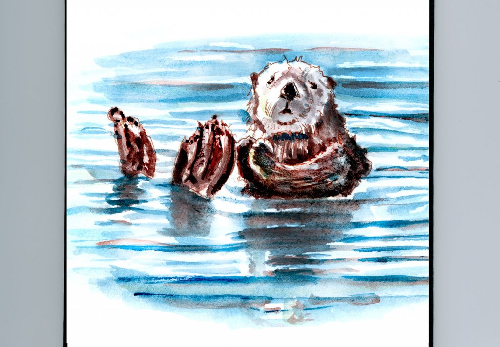 Day 28 - Floating Like A Sea Otter Watercolor - Doodlewash