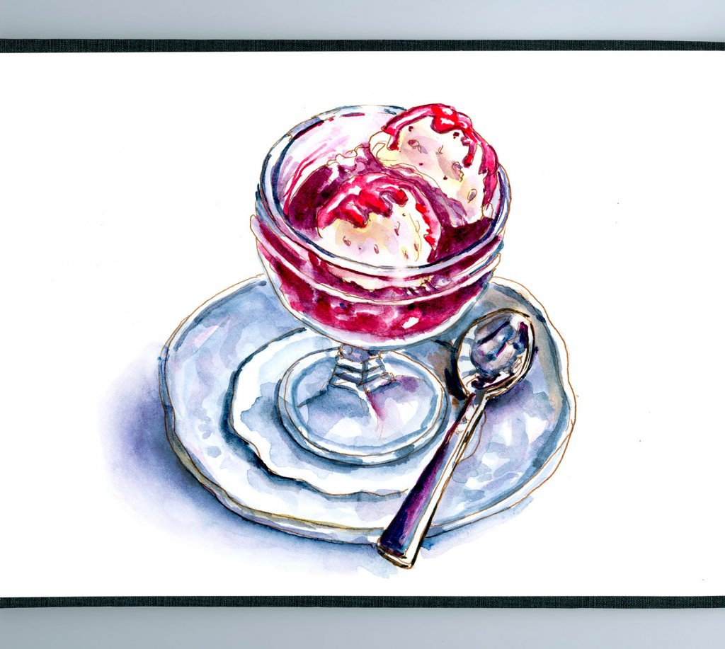 Day 29 - Ice Cream Sundae Dessert And Spoon Watercolor Painting - Doodlewash