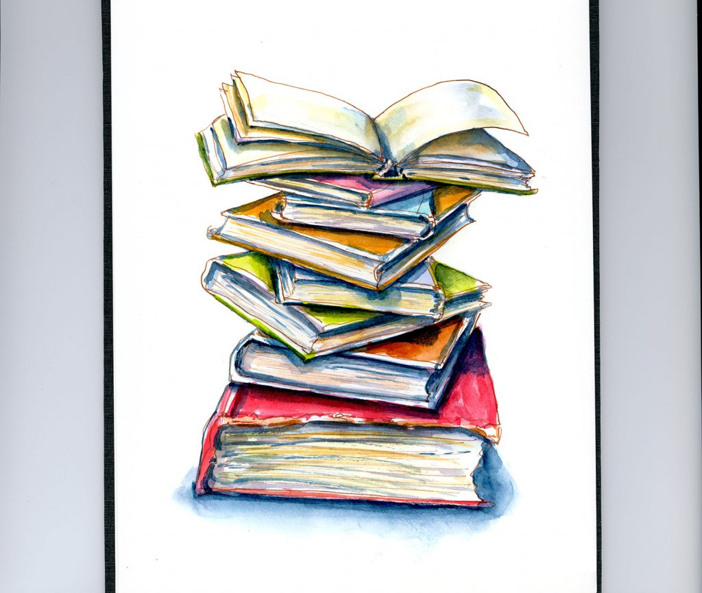 Day 30 - Stack Of Books Watercolor Finding The Right Story - Doodlewash