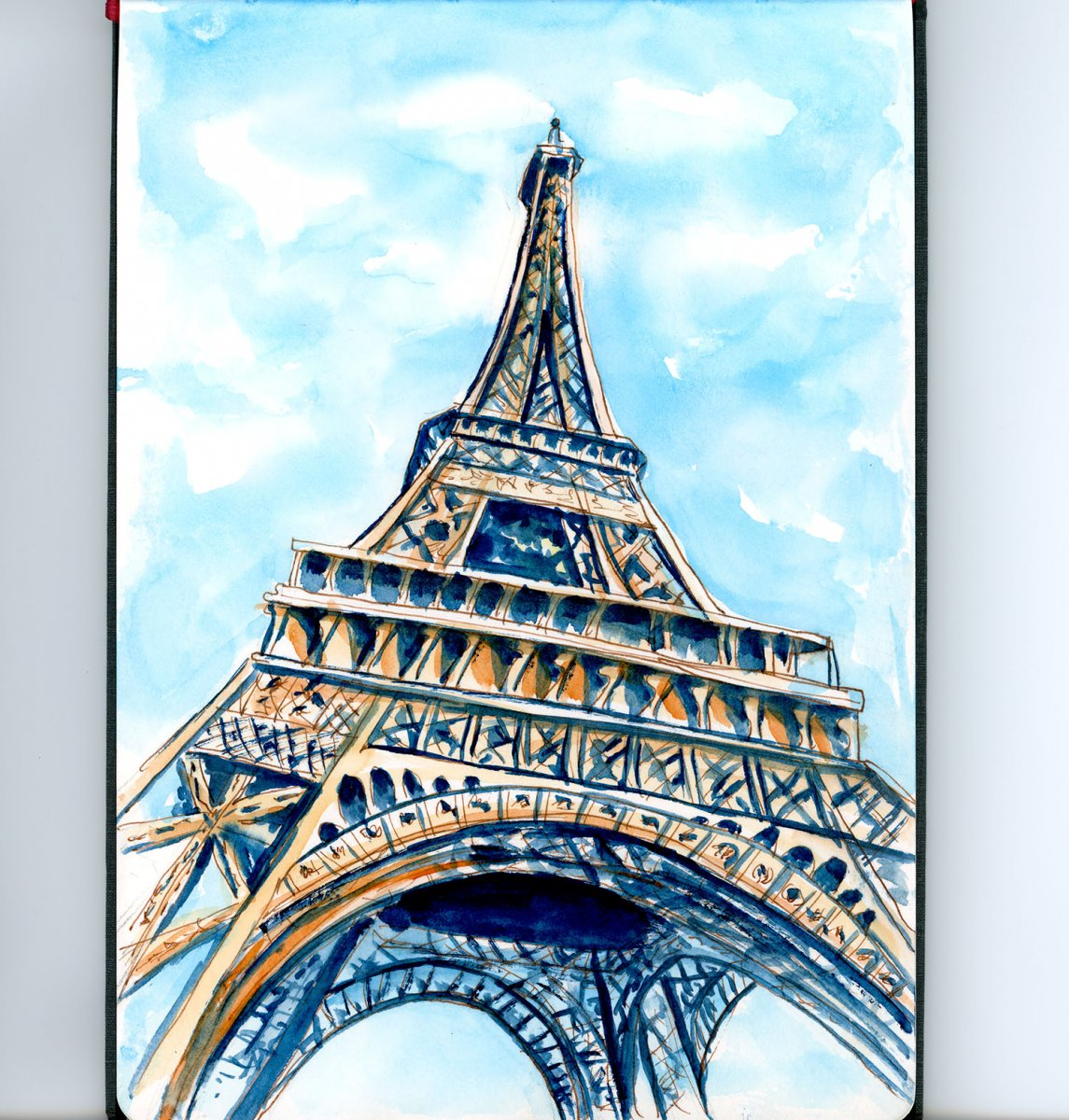 Day 4 - Standing Under The Eiffel Tower Watercolor - Doodlewash