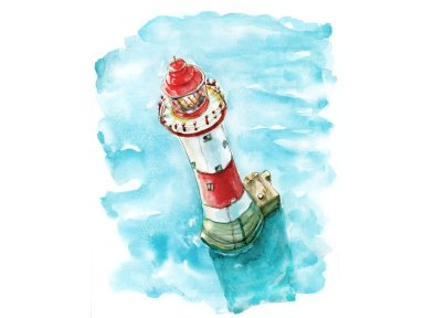 Day 7 - Lighthouse Watercolor The View From The Top - Doodlewash