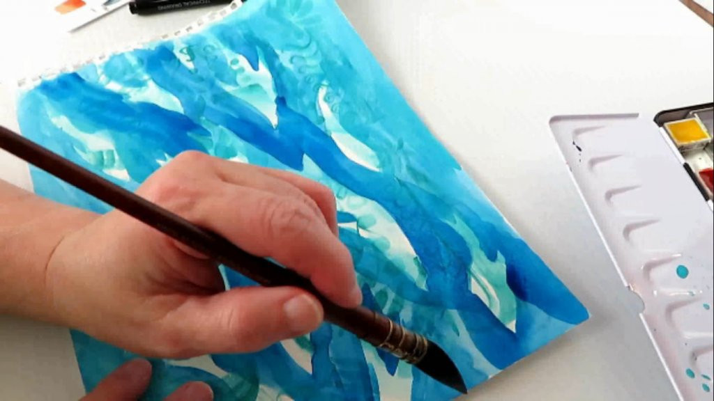 Watercolor Negative Painting Example by Sandra Strait