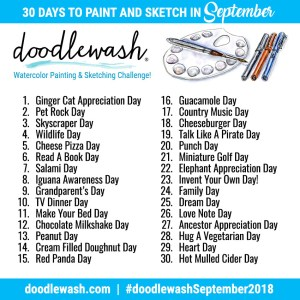 Things to Paint & Sketch In September 2018 Adventure Prompts - Doodlewash