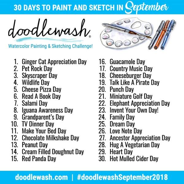 Things to Paint & Sketch In September 2018 Adventure Prompts - Doodlewash