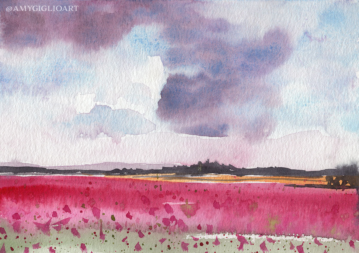 Flower Field Watercolor by Amy Giglio - Doodlewash