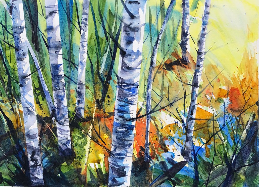 Watercolor Painting by Jim Huppenthal - Birch Trees
