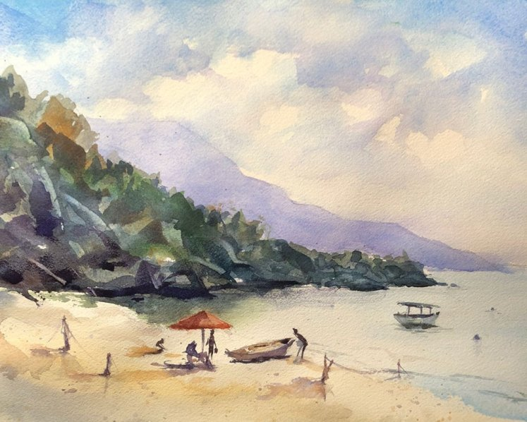 Watercolor Painting by Jim Huppenthal - Beach