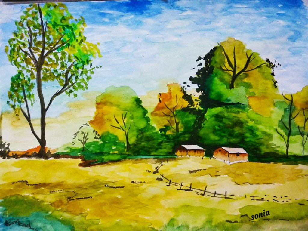 It's a landscape with watercolours. Vivid colours of nature are reflected in this painting. IM