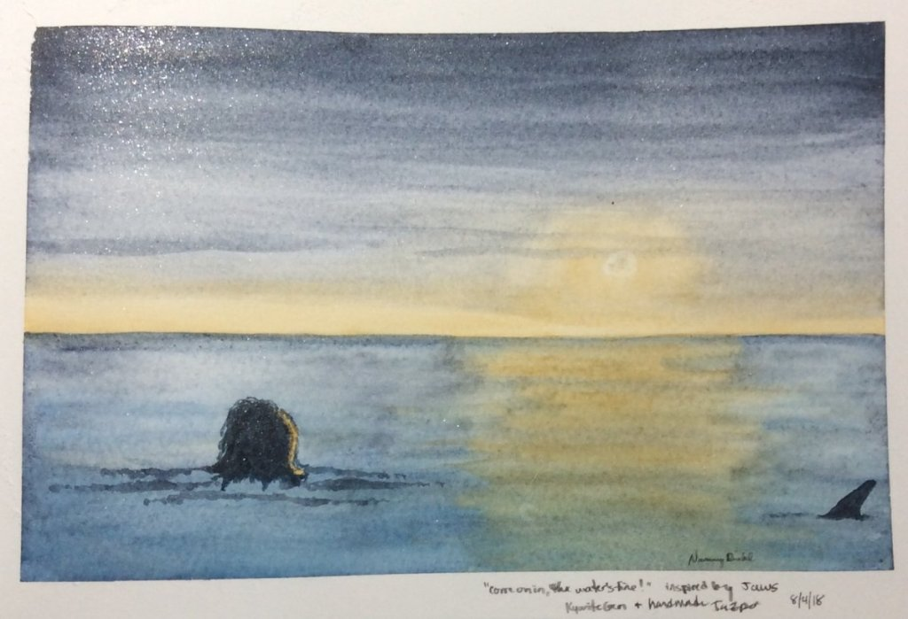 I was inspired when I rewatched Jaws the other night. I loved the stillness of the water and the moo