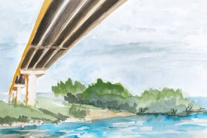 I lead a weekly plein air group and today we painted under a bridge along a bay. For something diffe