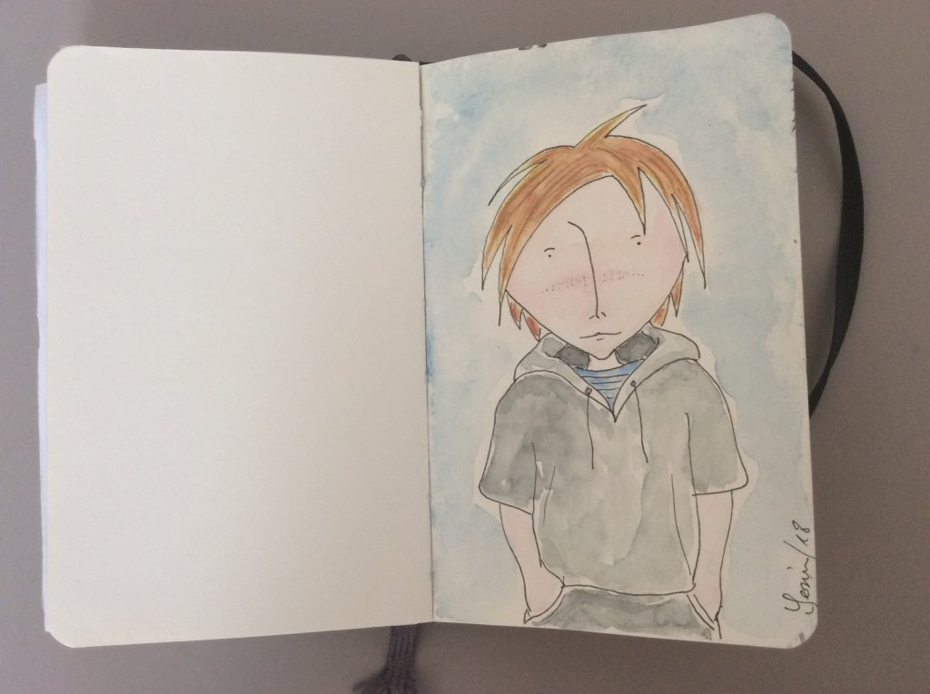 """doodle boy"" Ink pencil+watercolour on moleskine IMG_7331"