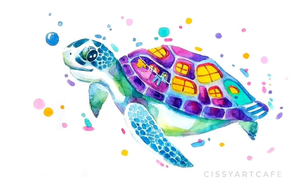 Watercolor Turtle by Cecile Lu CissyArtCafe - Doodlewash