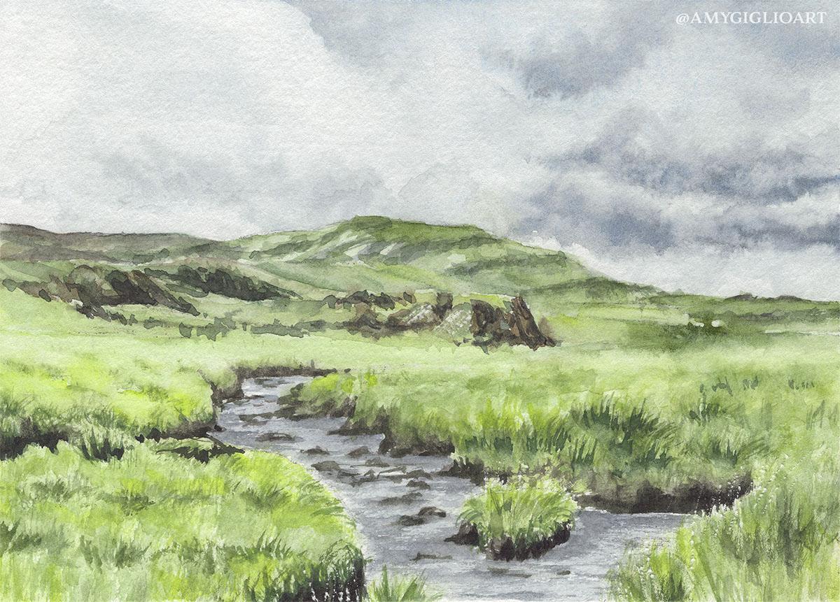 Rural Irish Landscape Watercolor by Amy Giglio - Doodlewash
