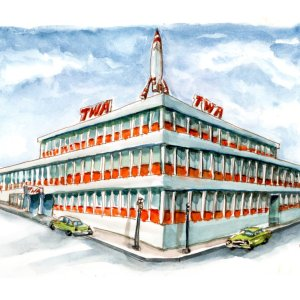 TWA-Moonliner-Building-Kansas-City-Watercolor-Print-Signed