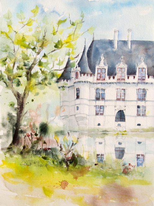 Watercolor Painting by Martine Jacquel Saint Ellier - France