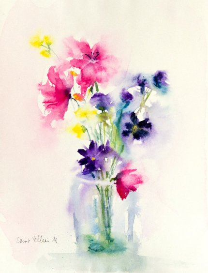 Flowers in Vase Watercolor Painting by Martine Jacquel Saint Ellier - France