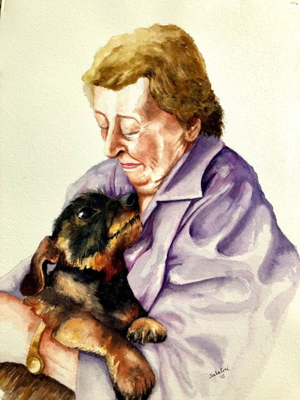 Grandmother And Dog Watercolor by Bernadette Sabatini - Doodlewash