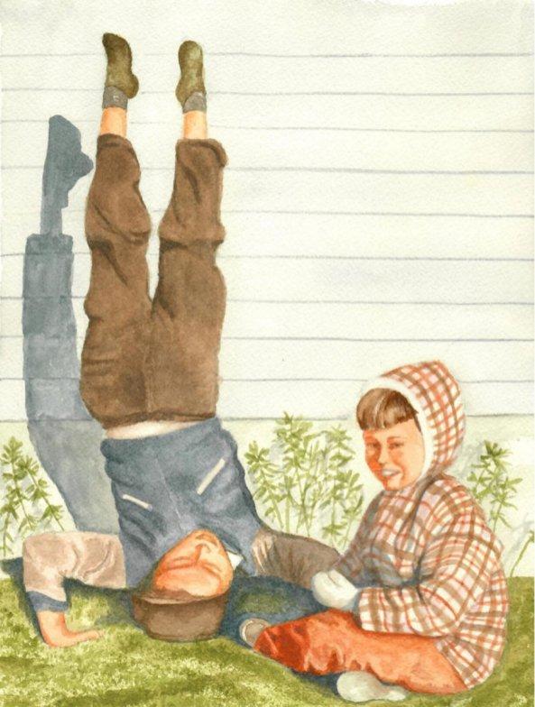 Headstand Watercolor by Bernadette Sabatini - Doodlewash