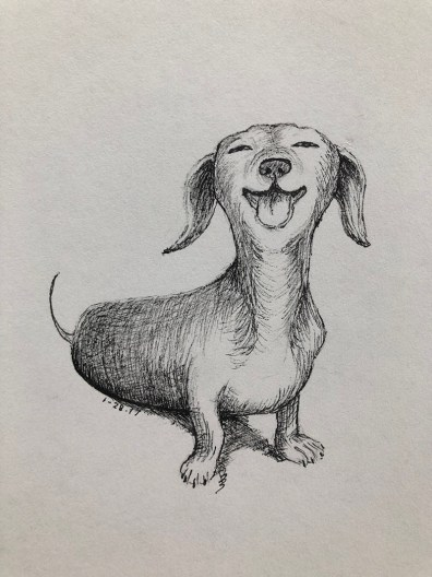 Smiling Dog Illustration by Bernadette Sabatini - Doodlewash