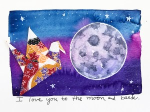 I make watercolor greeting cards that combine origami and drawing. I sell them in galleries and shop