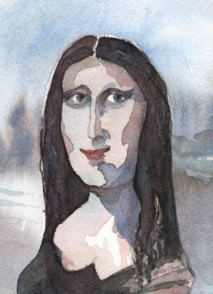 I went to the Louvre in Paris one year and painted this Mona Lisa on a small block. monalisa