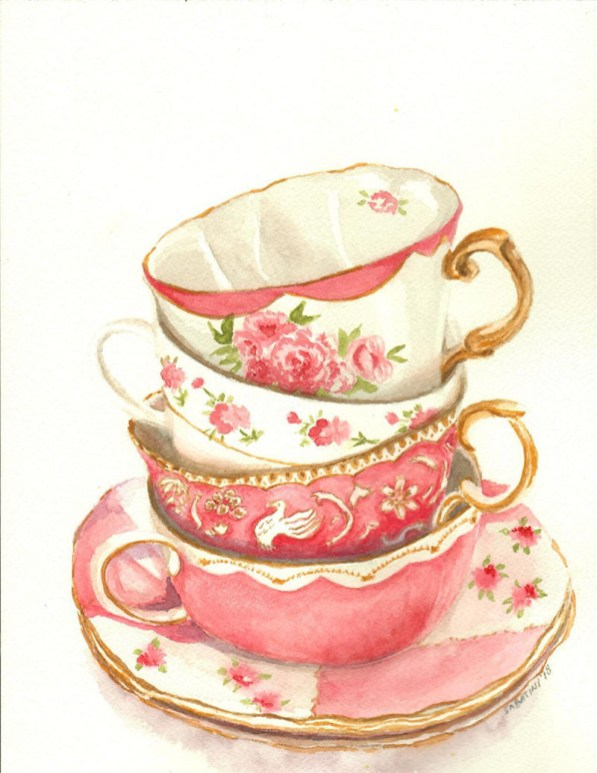 Pink Teacups Woman Watercolor by Bernadette Sabatini - Doodlewash